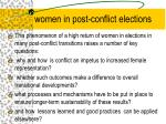 women in post conflict elections