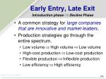 early entry late exit introduction phase decline phase