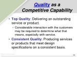 quality as a competitive capability