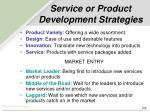 service or product development strategies