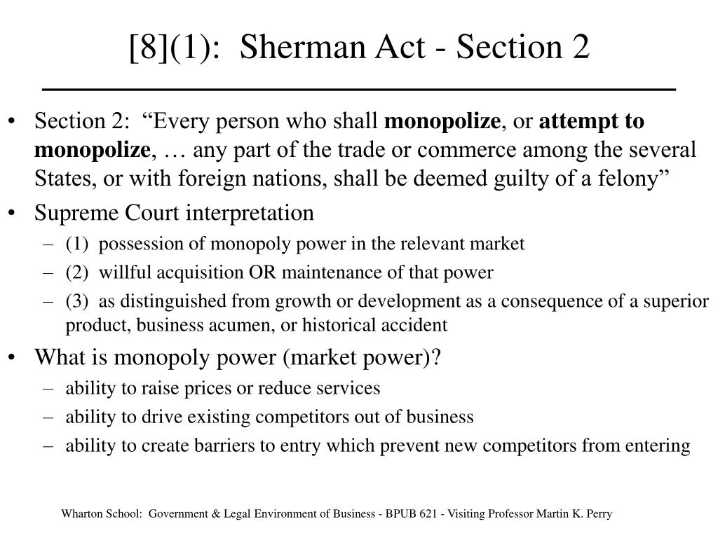 8 1 sherman act section 2 l.