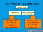 two types of research saes