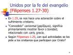 unidos por la fe del evangelio filipenses 1 27 3031