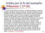 unidos por la fe del evangelio filipenses 1 27 3033