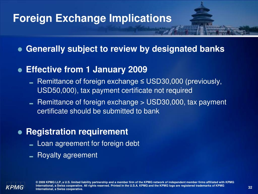 Foreign Exchange Implications