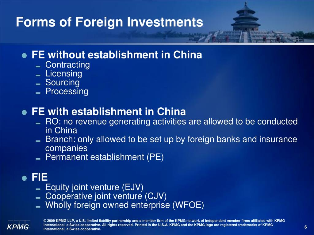 Forms of Foreign Investment