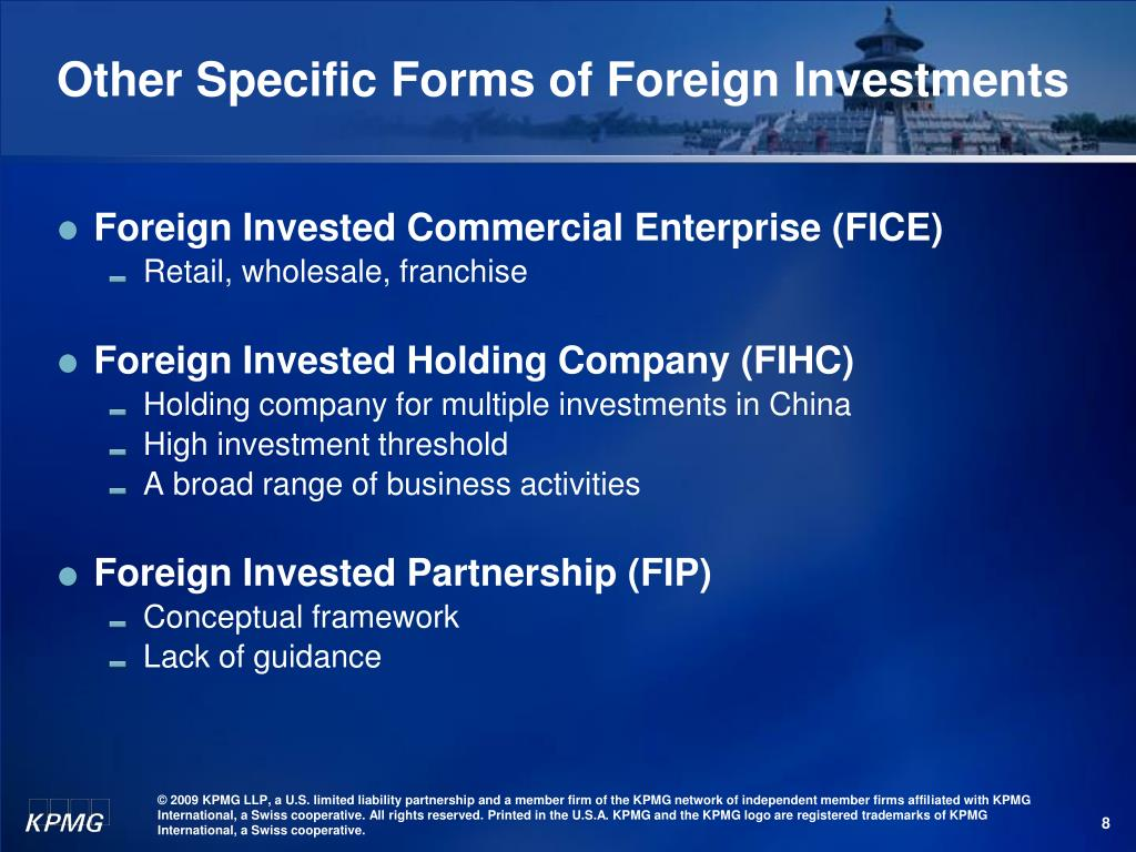 Other Specific Forms of Foreign Investments