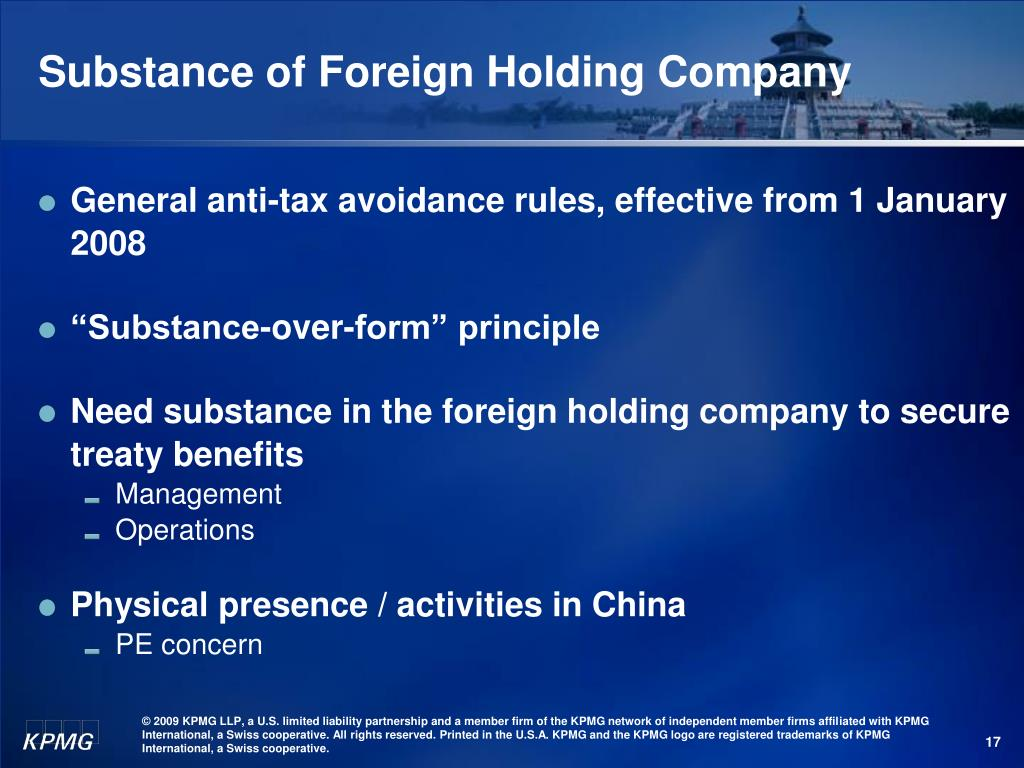 Substance of Foreign Holding Company