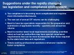 suggestions under the rapidly changing tax legislation and compliance environment