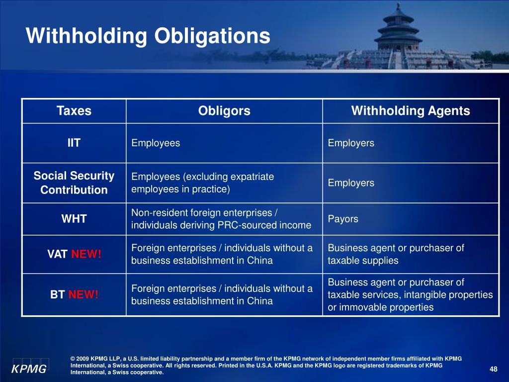 Withholding Obligations