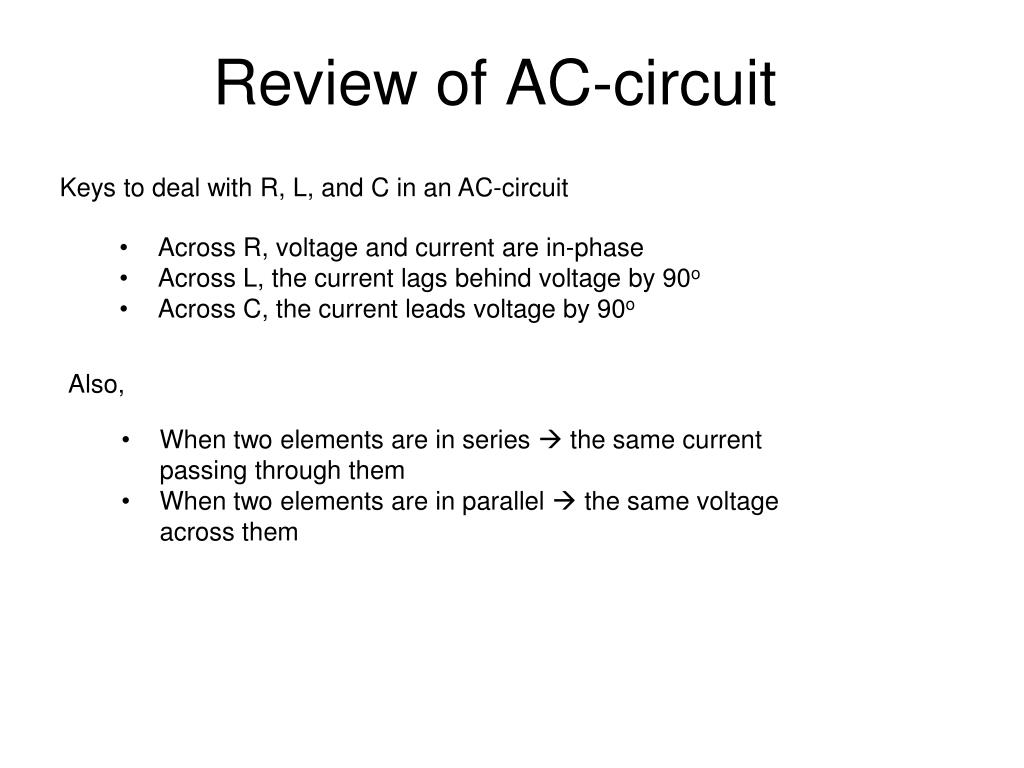 review of ac circuit l.