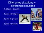 diff rentes situations diff rentes solutions