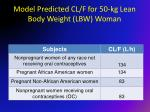 model predicted cl f for 50 kg lean body weight lbw woman