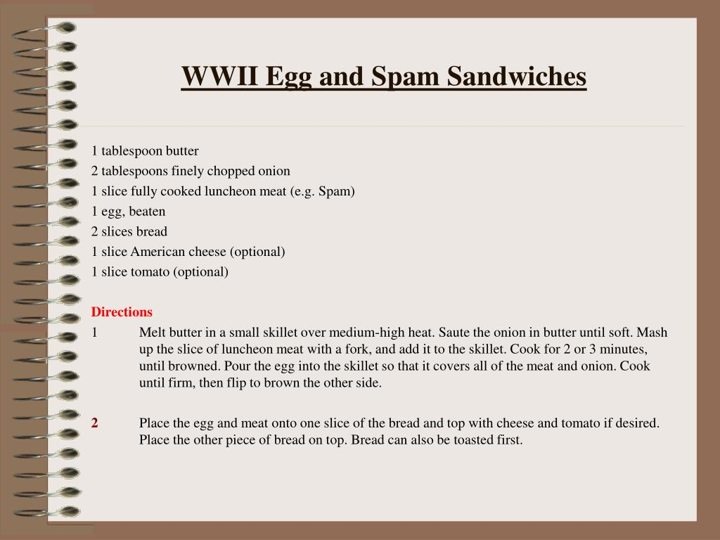 wwii egg and spam sandwiches l.