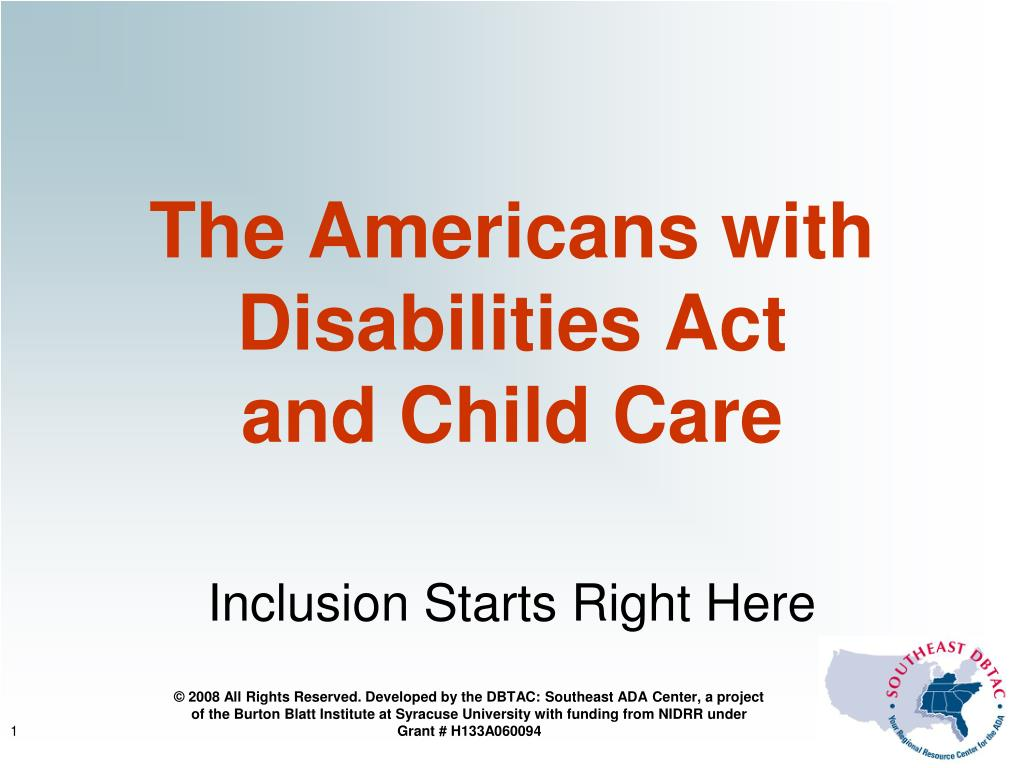 the americans with disabilities act and child care l.