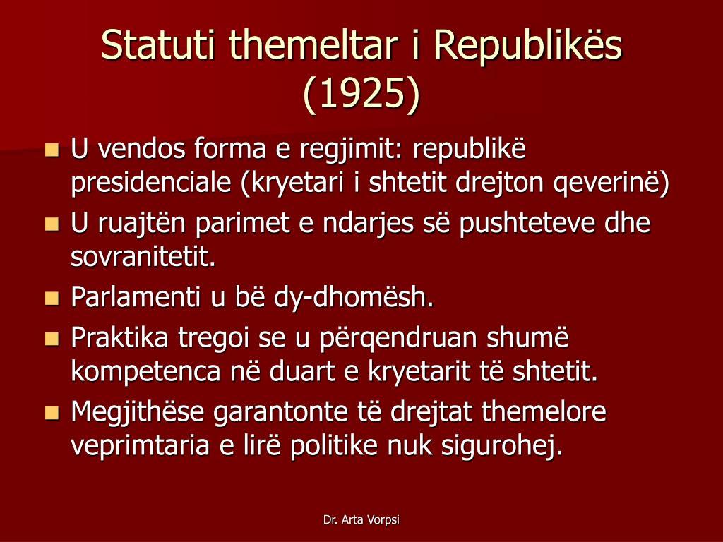 Statuti themeltar i Republikës (1925)
