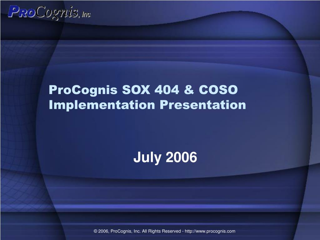 procognis sox 404 coso implementation presentation l.