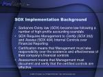 sox implementation background