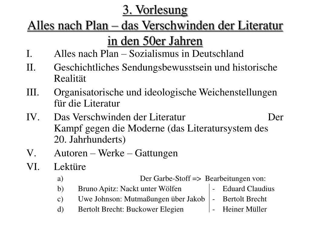 3 vorlesung alles nach plan das verschwinden der literatur in den 50er jahren l.