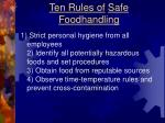 ten rules of safe foodhandling