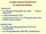 i regni romano barbarici le fonti del diritto