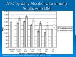 a1c by daily alcohol use among adults with dm