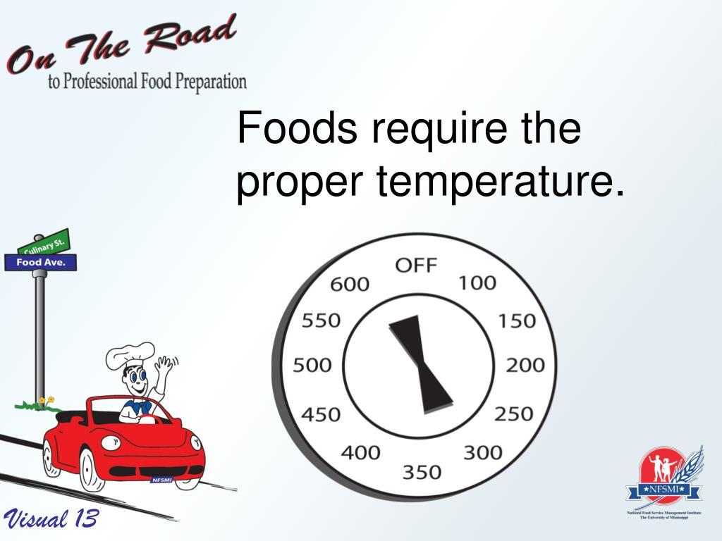 Foods require the proper temperature.