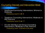 counseling intensity and intervention mode