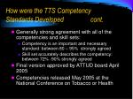 how were the tts competency standards developed cont10