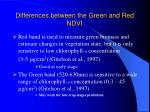 differences between the green and red ndvi