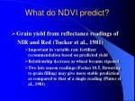 what do ndvi predict