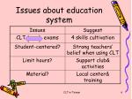 issues about education system