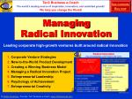 managing radical innovation