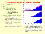 the highest redshift quasars today