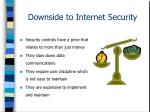 downside to internet security