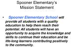 spooner elementary s mission statement