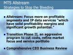 mts allstream strategies to stop the bleeding