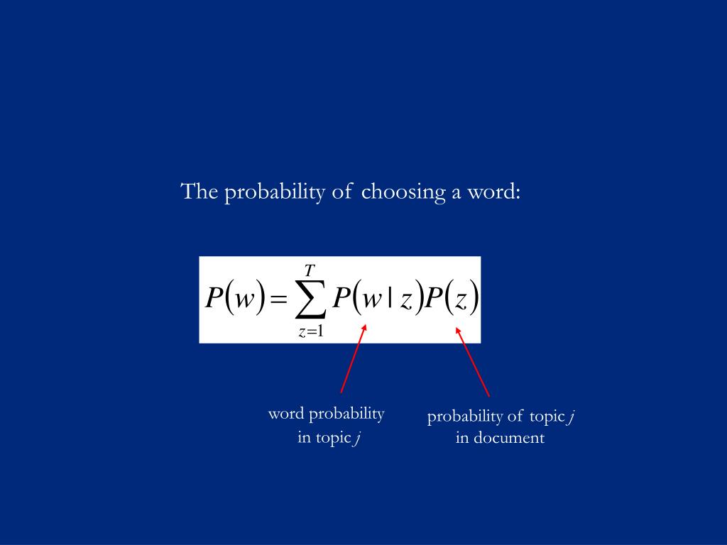 The probability of choosing a word: