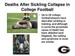 deaths after sickling collapse in college football