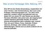 was ist eine homepage site abk rzg hp