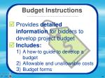 budget instructions