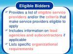eligible bidders