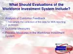 what should evaluations of the workforce investment system include
