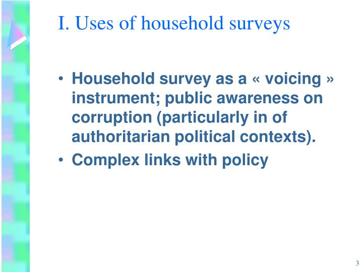 I uses of household surveys