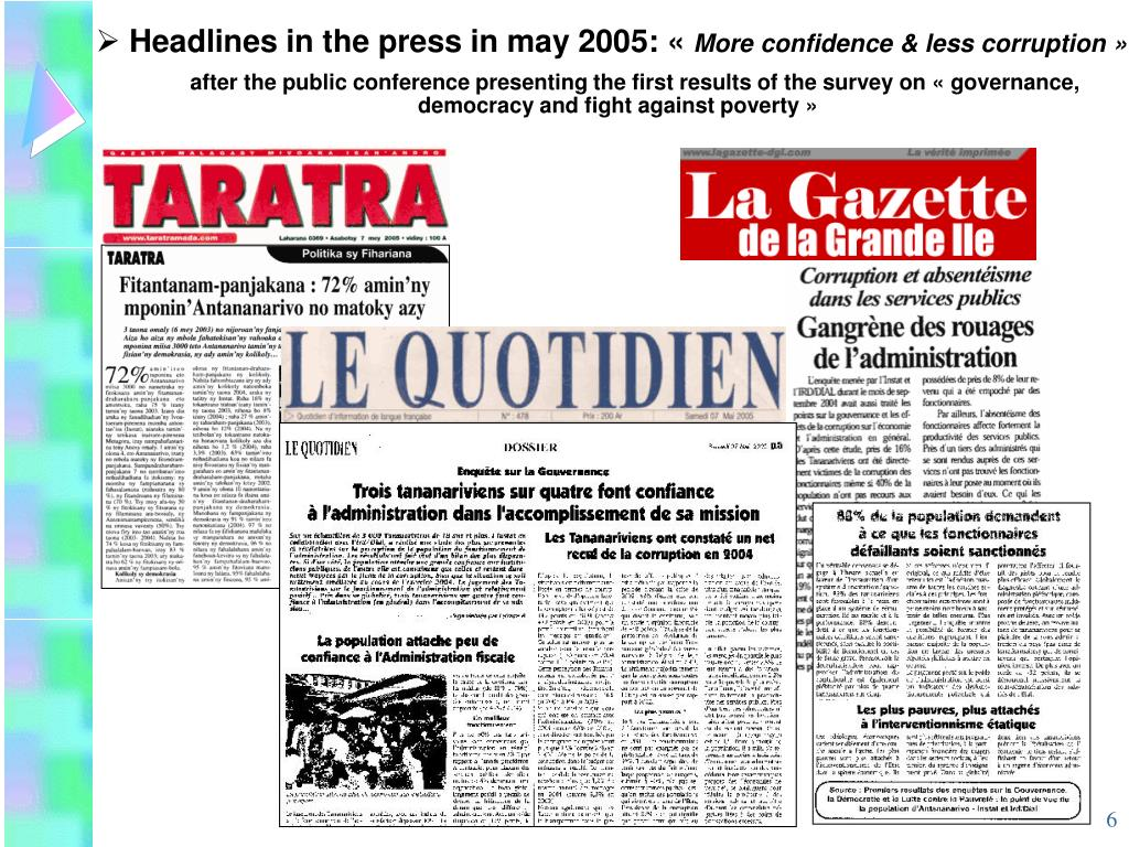 Headlines in the press in may 2005: «