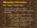 managing information four types of information