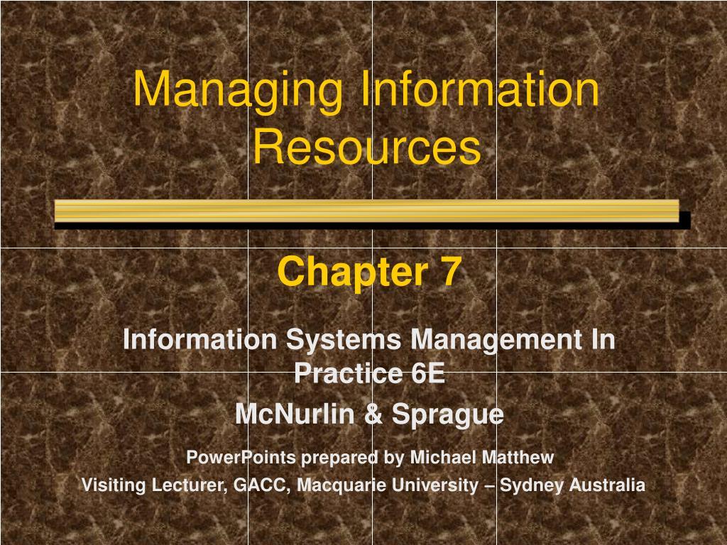 managing information resources l.