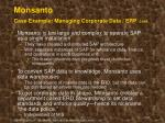 monsanto case example managing corporate data erp cont