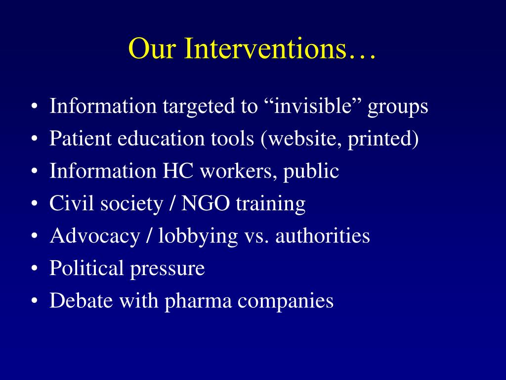Our Interventions…
