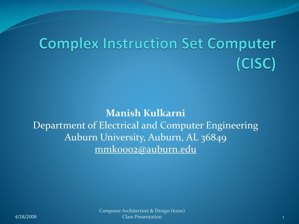 complex instruction set computer cisc l.